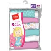 Hanes Toddler Girls Tagless Briefs 6 pk.