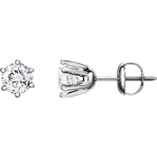 14K Gold 1 1/2 CTW Diamond Solitaire Stud Earrings
