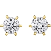 14K Gold 1/4 CTW Diamond Solitaire Stud Earrings