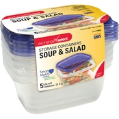 Exchange Select Disposable Containers Soup Salad Purple Lids 5 pk.