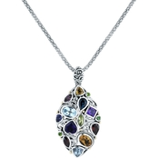 Robert Manse Designs Sterling Silver 18K Gold Bali Multi Gem Pendant, 18 In.
