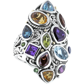 Robert Manse Designs Sterling Silver 18K Bali Multi Gem Ring