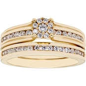 10K Yellow Gold 1/2 CTW Diamond Cluster Center Bridal Set, Size 7