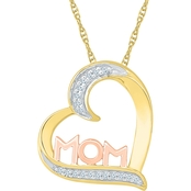 Sterling Silver 2 Micron 14K Yellow & Rose Gold Plated Diamond Accent Heart Pendant