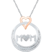 Sterling Silver & 10K Rose Gold Diamond Accent Heart Pendant 18 In.