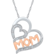 Sterling Silver with 2 Micron 14K Rose Plated Diamond Accent Heart Pendant 18 In.