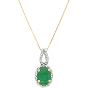 10K Yellow Gold Emerald and 0.07 ct. TDW Diamond Pendant