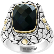 Effy Sterling Silver and 18K Yellow Gold Onyx Ring Size 7