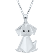 Sterling Silver Origami Puppy Pendant with Black Diamond Eyes, 18 In.