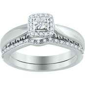 Expressions of Love Sterling Silver 1/7 CTW Round Diamond Halo Frame Bridal Set