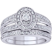 Expressions of Love Sterling Silver 1/3 CTW Round Diamond Halo Frame Bridal Set