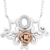Disney Enchanted Sterling Silver 1/10 CTW Diamond Belle Mom Rose Necklace 18 In.