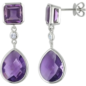 Sofia B. Amethyst & 1/10 CTW Diamond Drop Earrings in 14K White Gold