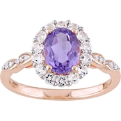Sofia B. Amethyst White Topaz & Diamond-Accent Halo Vintage Ring in 14K Rose Gold