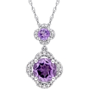Sofia B. Amethyst & 1/5 CTW Diamond Quatrefoil Halo Necklace 14K White Gold 17 In.