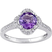 Sofia B. Amethyst & 1/4 CTW Diamond Quatrefoil Halo Ring in 14K White Gold