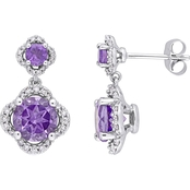 Sofia B. Amethyst & 2/5 CTW Diamond Quatrefoil Halo Earrings in 14K White Gold