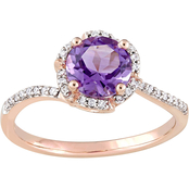 Sofia B. Amethyst & 1/10 CTW Diamond Halo Ring in 14K Rose Gold
