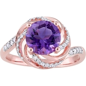 Sofia B. Amethyst White Topaz & Diamond Accent Ring in Rose Plated Sterling Silver