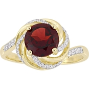 Sofia B. Garnet White Topaz & Diamond Accent Ring Yellow Plated Sterling Silver