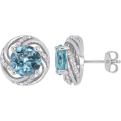 Sofia B. Blue & White Topaz Swirl Stud Earrings in Sterling Silver