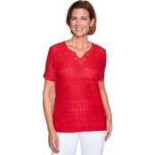 Alfred Dunner Solid Lace Top
