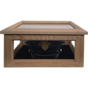 DomEx Hardwoods Hat/Cover Box, Glass Top, Oak