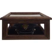 DomEx Hardwoods Hat/Cover Box, Glass Top, Walnut