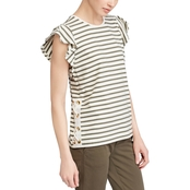 Lauren Ralph Lauren Petite Striped Cotton Flutter Sleeve Tee