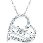 Sterling Silver 1/6 CTW Mom Heart Pendant