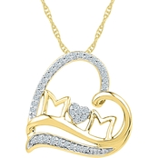 14K Yellow Gold Over Sterling Silver 1/6 CTW Mom Heart Pendant