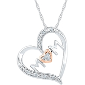 14K Rose Gold Over Sterling Silver Diamond Accent Heart Pendant