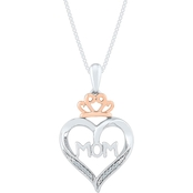 Sterling Silver and 10K Rose Gold Diamond Accent Heart Pendant