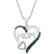 Sterling Silver Black and White Diamond Accent Heart Pendant
