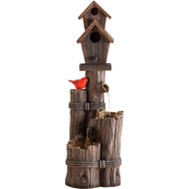 Alpine Three Tiered Birdhouse with Cardinal Fountain