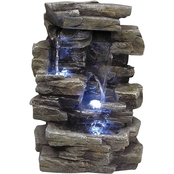 Alpine Cascading Tabletop Fountain with LED Lights