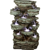 Alpine 39 in. Tiered Cascading Rock Fountain with LED Lights