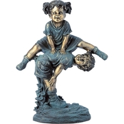 Alpine Girl Jumping Over Boy Statue