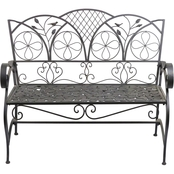 Alpine Iron Brown Bench with Leaf Pattern