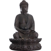 Alpine Buddha with Lotus Flowers Tabletop Fountain with LED Light