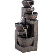 Alpine Three Tier Stone Bowl Tabletop Fountain