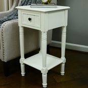 Decor Therapy Simplify Distressed 1 Drawer Square Accent Table