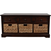 Decor Therapy Montgomery Storage Bench with 3 Woven Storage Baskets