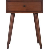 Decor Therapy Mid Century Walnut 1 Drawer End Table