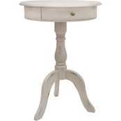 Decor Therapy Pedestal End Table with Drawer and Round Top