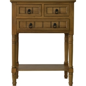 Decor Therapy Wooden 3 Drawer Console Table