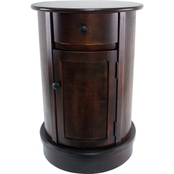 Decor Therapy Vintage Round Cherry Finish 1 Door and 1 Drawer End Table
