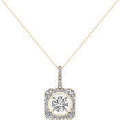 Magnificence 10K Gold 1/4 CTW Diamond Halo High Polished Radiance Pendant 18 In.