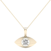 Magnificence 10K Gold 1/10 CTW Marquise High Polished Pendant 18 In.