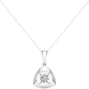 Magnificence 10K 1/10 CTW Round Diamond High Polished Trilliant Pendant 18 In.